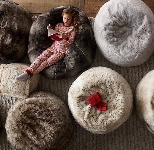 faux fur bean bags & poufs. luxuriously soft and cozy. #rhbabyandchild