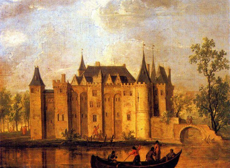 Het voormalige kasteel van Gouda op een schilderij. Ligging waar nu molen 'Het Slot' staat.