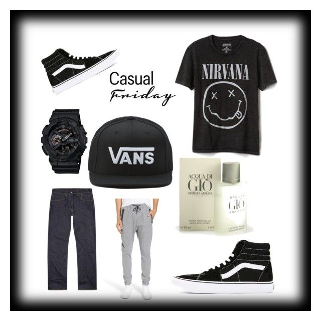 """LAiD BACk FRiDAY"" by arod2307 ❤ liked on Polyvore featuring Gap, Vans, Zanerobe, G-Shock, Levi's, men's fashion and menswear"