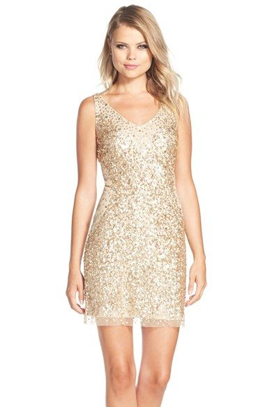 Free shipping and returns on Adrianna Papell Sequin Tulle Sheath Dress at Nordstrom.com. Allovermetallic sequins denselygather toward the center of this sparkly cocktail dress, creating an hourglass shape that flatters and highlights the figure.