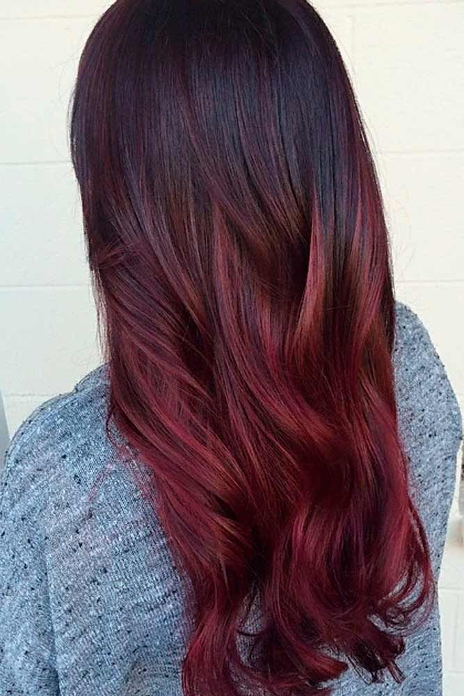 Natural Dark Hair With Dark Red Ombre Ombrehair Longhair Beautifulhairstyles Red Ombre Hair Hair Color Red Ombre Ombre Hair Color