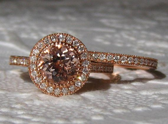 Morganite Engagement Ring Rose Gold Engagement by JuliaBJewelry