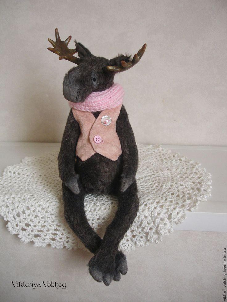 Купить Лось тедди Александр - темно-серый, черный, коричневый, лось, тедди лось