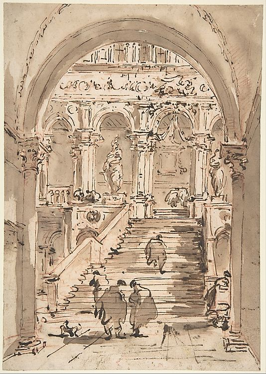 The Staircase of the Giants, Ducal Palace, Venice ~ 18th century drawing by an Italian artist
