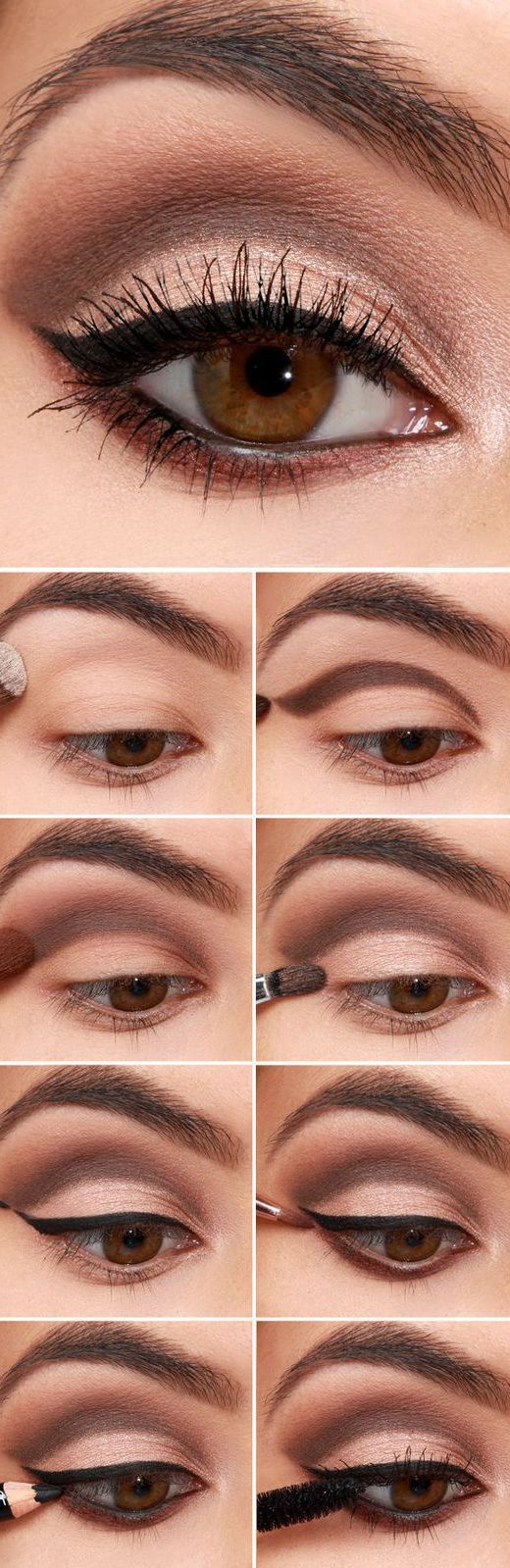 16 Easy Step-by-Step Eyeshadow Tutorials for Beginners: #3. Easy Eyeshadow Makeup Tutorials for Beginners – Brown Cut Crease with Eyeliner #cutcreasestepbystep #eyeshadowsforbeginners #cutcreaseeyeshadow
