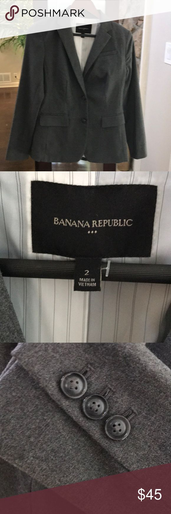 """NWOT - Banana Republic Gray Button Blazer Purchased and never worn! Tags removed. Beautiful charcoal grey suit jacket with pinstripe lining. Great quality fabric and stitching. Front flap pocket closing hem still have not been """"unsealed"""". Moving soon so make me an offer! I included pictures of the item number above. Banana Republic Jackets & Coats Blazers"""