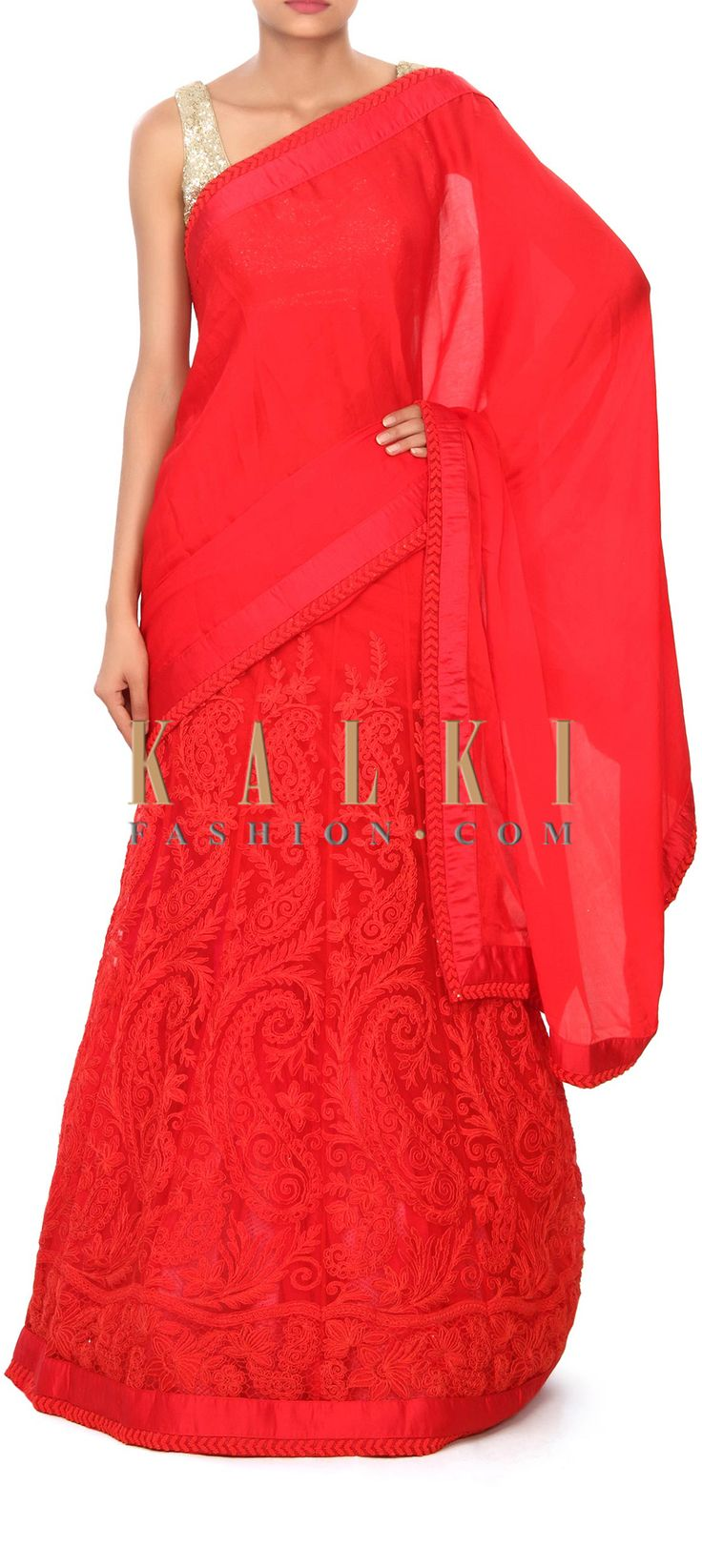 Buy Online from the link below. We ship worldwide (Free Shipping over US$100) Price- $229 Click Anywhere to Tag http://www.kalkifashion.com/red-lehenga-saree-adorn-in-thread-work-only-on-kalki.html