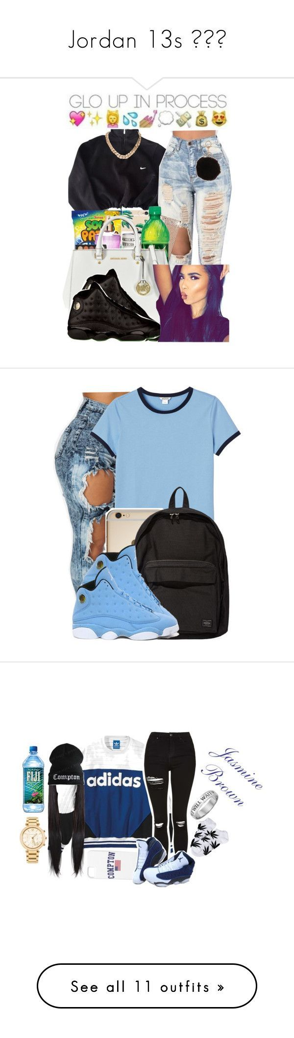"""""""Jordan 13s """" by prinxcess-adri ❤ liked on Polyvore featuring NIKE, Armitage Avenue, Monki, Porter, adidas, Topshop, HUF, Michael Kors, beauty and Casetify"""