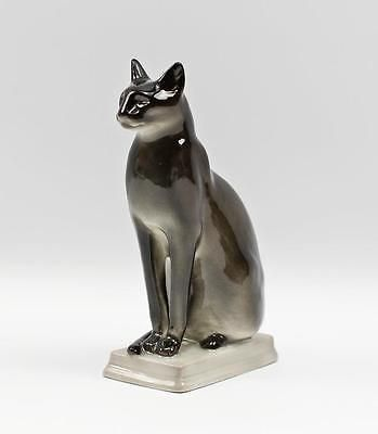 Imperial-LOMONOSOV-RUSSIAN-Figurine-Statue-Egyptian-Black-CAT-Porcelain-RUSSIA