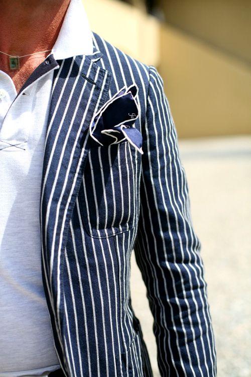 stripe it up!Light Pink Blazers, Fashion Men, Men Clothing, Blue Fashion, Navy Blazers, White, Men Fashion, Sports Navy, Pocket Squares
