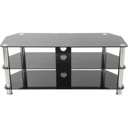 AVF TV Stand with Cable Management for up to 55 inch TVs, Multiple Colors, Black