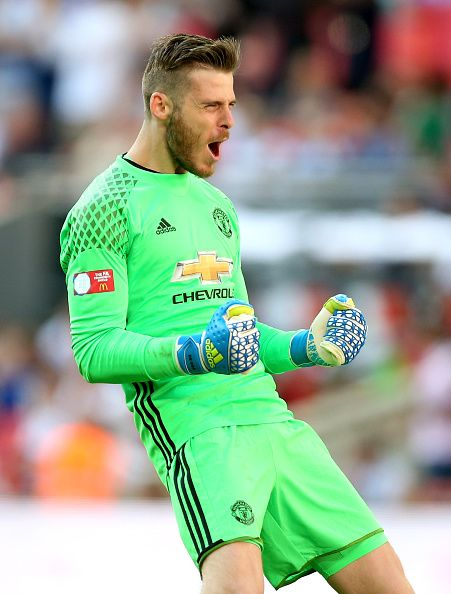 David De Gea of Manchester United celebrates after his sides second goal during The FA Community Shield match between Leicester City and…