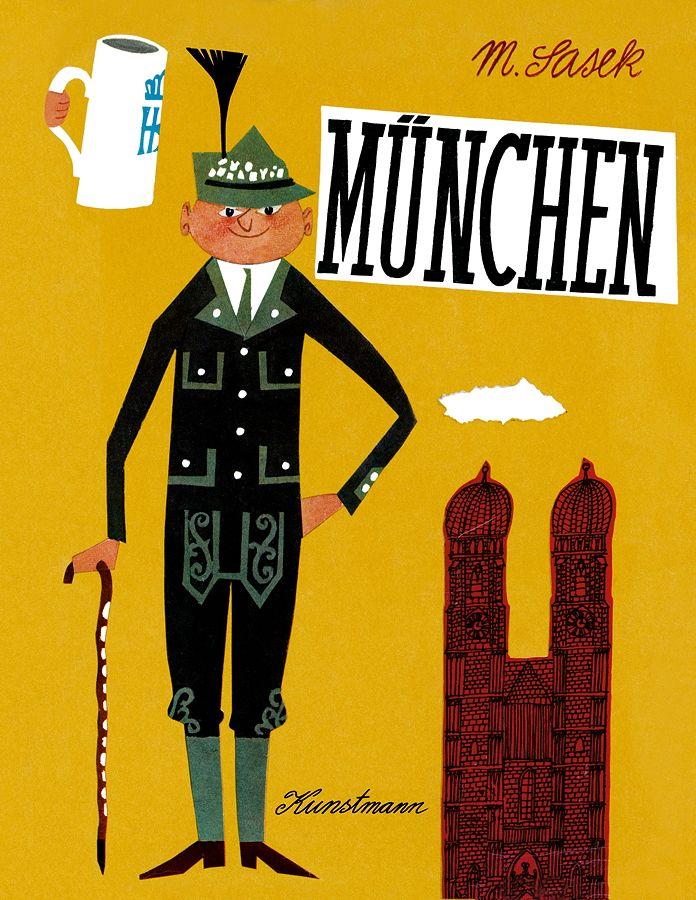 """The timeless book """"München"""" by Miroslav Sasek – reprint from 1961. Read more in MILAN Magazine: http://www.milan-magazine.de/oktoberfest-sasek-muenchen/  #MiroslavSasek #books #childrensbook #kinderbuch #bilderbuch #KunstmannVerlag #illustration #oktoberfest #wiesn #bavarianstyle #lederhose #tracht #janker #bavarianhat #traditionalcostume #aufgehts #munich #münchen #minga #bavaria"""