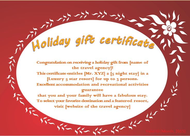 Holiday Gift Certificate Template Free Images - Template Design Free