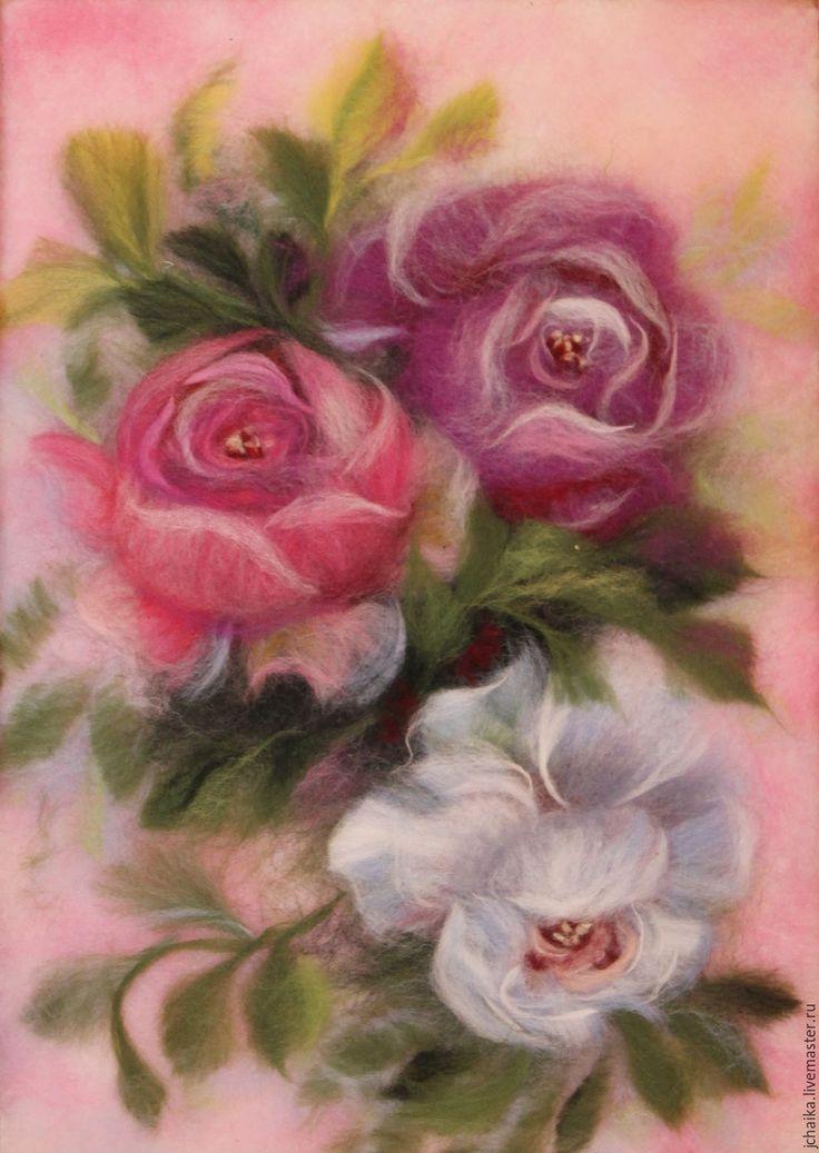 Купить декоративные розочки - розовый, розы, цветы, картина из шерсти, шерстяные картины, Живопись