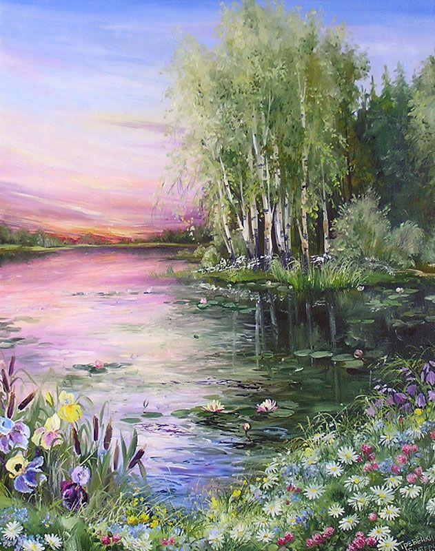Картины - Пейзажи - Вечерний пруд (Холст, масло)