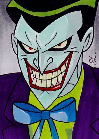 Love this. One of my favorite styles. Don't get me wrong! I love decrepit Joker too! But the Joker from the animated series was incredible. There was enough psycho craziness mixed in with a sort of charming and charismatic which is part of the Joker. The Animated Series got ALOT of things right. XD
