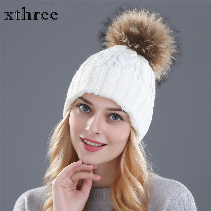 US $12.00 -- AliExpress.com Product - fox fur pompom hat knitted hat Winter Hat For Women Girls Wool Hat Cotton