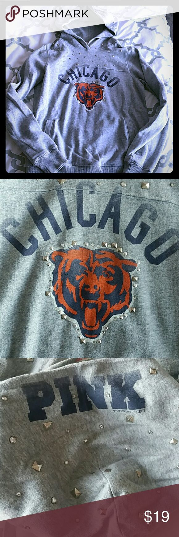 PINK Chicago Bears hoodie! Awesome Chicago Bears hoodie! Covered in rhinestones and studs! Show your Bears pride in the coolest way possible! You will be the star of the game in this hoodie! Worn with love! Happy Shopping! PINK Victoria's Secret Tops Sweatshirts & Hoodies