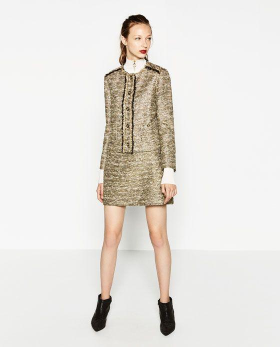 Golden Skirt with Metallic Fabric Blazer - Zara