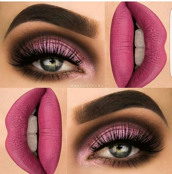 Gorgeous Rose Red Eye Makeup AND Lips Makeup