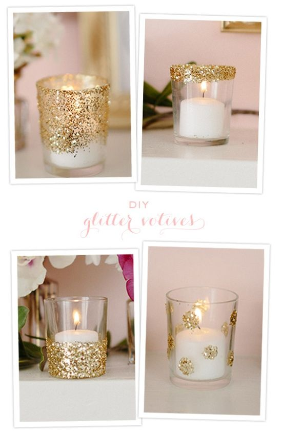 Those top two are chicly fab! This is a simple DIY with glitter, Mod Podge, and glass votive candle holders.