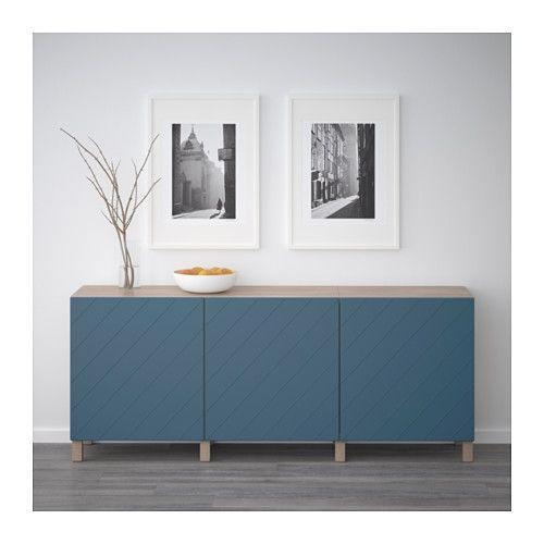 BESTÅ Mobile con ante - effetto noce mordente grigio/Hallstavik blu scuro - IKEA