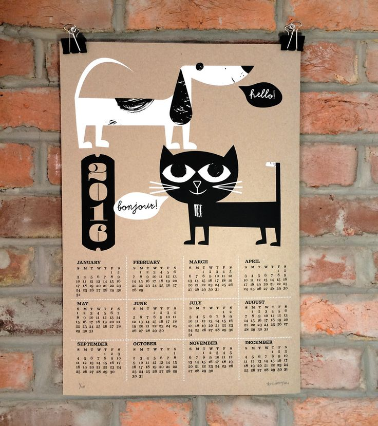 Screen printed cat & dog calendar from Strawberry Luna