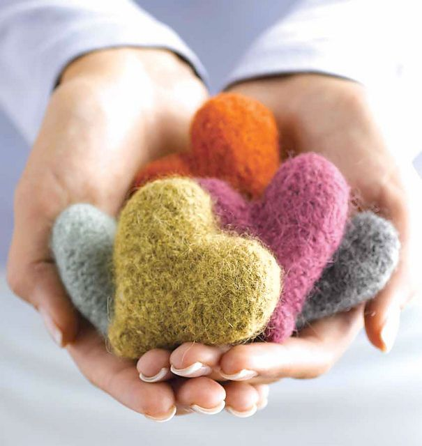 "Felted hearts. These  were fun & easy to knit. Pattern is found in the book ""Gifted"" - full of adorable things to make & a great way to use up your stash yarn!"