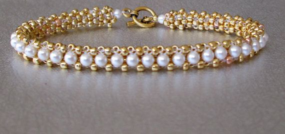 yellow gold pearl beadwork tennis bracelet by beadnurse on Etsy