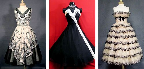 1950s Prom and Party Dresses: Black and White