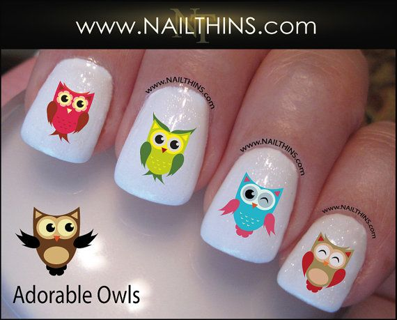 Too cute! I would totally sport these!  Owls Nail Decal NAILTHINS Nail Art Owl Nail Design by NAILTHINS, $3.50