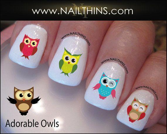 Owls Nail Decal NAILTHINS Nail Art Owl Nail Design by NAILTHINS