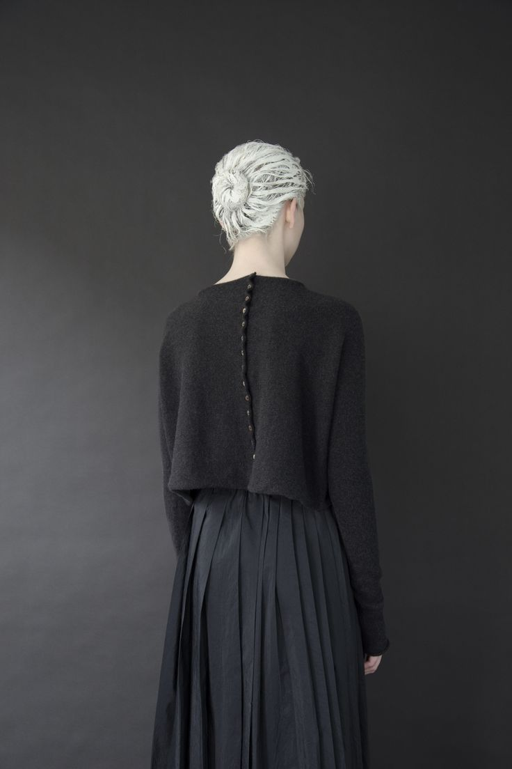 Button-back boxy cropped sweater + pleated skirt