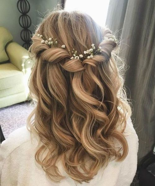 Dazzling Rolled Over Medium Curly Wedding Hairstyles