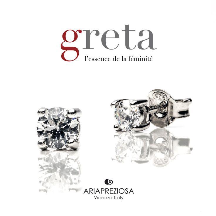 """Greta - Coppia orecchini modello """"Punto Luce"""" in argento 925‰ con zircone bianco (Cubik Zirconia) di 4 mm. Chiusura a farfalla"""