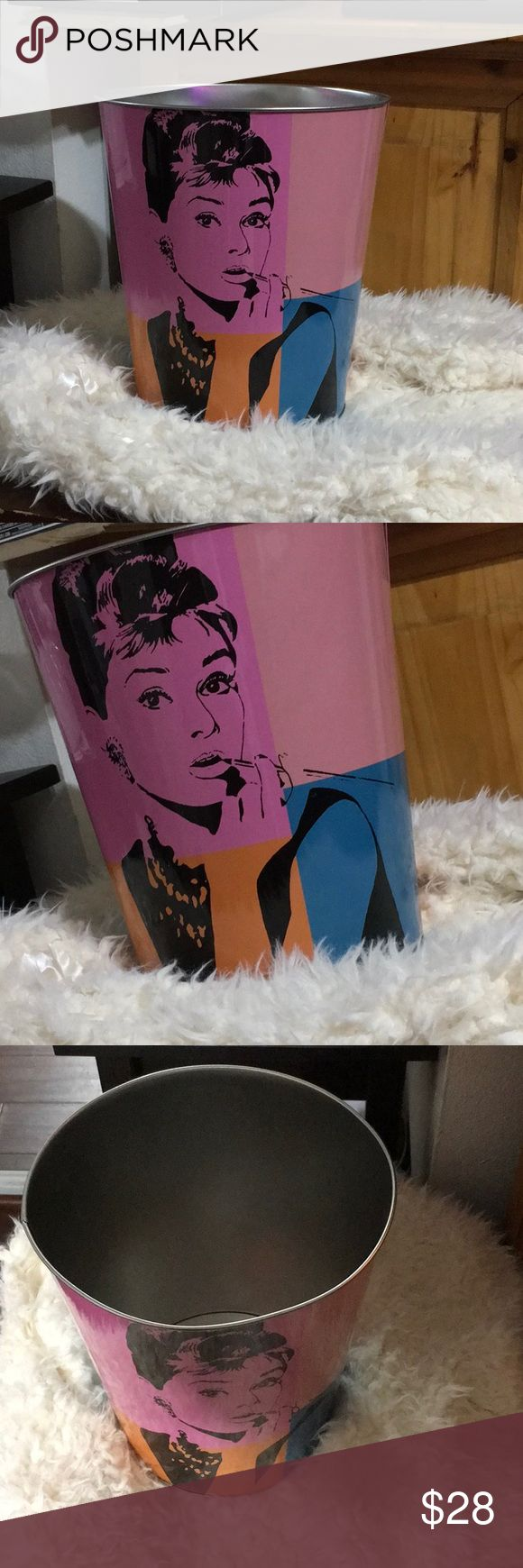 💋New Aubrey Hepburn Can✨ 💋New Aubrey Hepburn Can, can be use as a Trash Can or Can or to store anything . Almost 11 inches in height!  Includes Free Gift 🎁 ♡ with a personal written thank you note♡  Ready to ship!  Fast Shipping!   Bundle items and save 5% off 2+🔥 Accessories