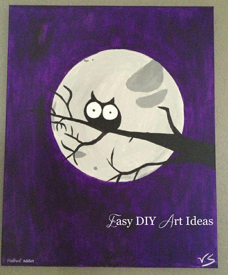 Easy DIY Art IdeasDiy Crafts, Owl Art, Diy Artworks, Halloween I Things, Art Ideas, Owls Art, Diy Projects, Art Projects, Diy Art Angels