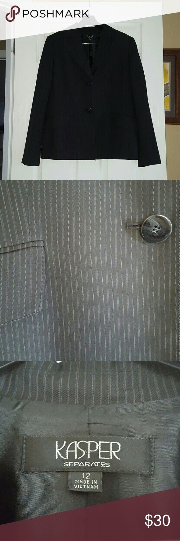 Kasper Women's Pant Suit. Size 12 Kasper Women's Pant Suit. Size 12. Black with grey stripes. Used but in good condition.  Smoke free/cat free home. Kasper Jackets & Coats Blazers