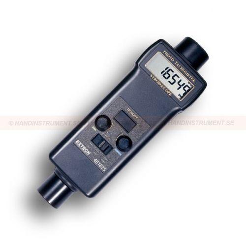 """http://handinstrument.se/tachometer-stroboskop-r1243/stroboskop-varvraknare-varvtalsmatare-53-461825-r1248  Stroboskop / Varvräknare / varvtalsmätare  Stroboskop med blixtreglering för att frysa och analysera roterande föremål  Batteridrift ger rörelseanalys mobilt  Har tecken som visar rotationsriktning beroende på mätläge  Stor 0,4 """"(10mm) 5 siffrig LCD-display  Mikroprocessorbaserad med kvartskristalloscillator att upprätthålla hög noggrannhet  Varvräknare lagrar sista, max..."""