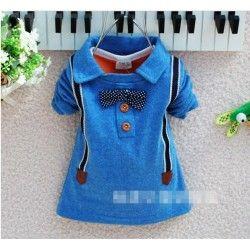 Schattige jongens trui met strik blauw