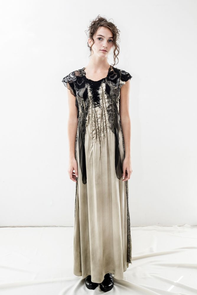 WOOCOON natural dyed silk&wool dress