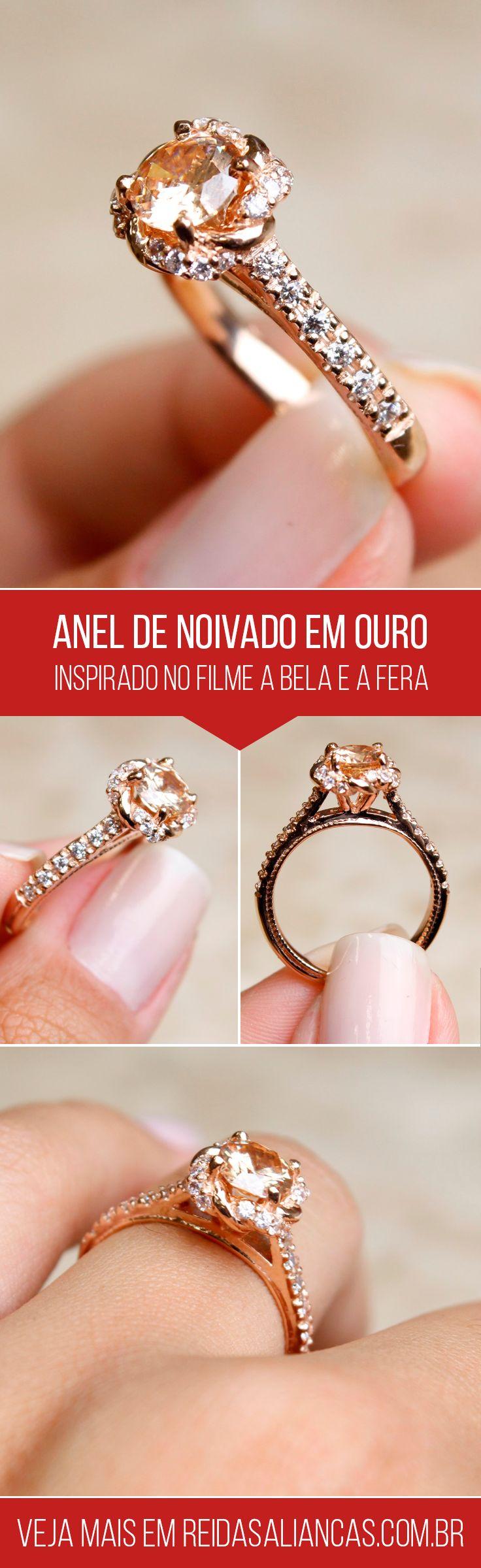 Anel de Noivado Inspirado em A Bela e a Fera.  Confeccionado em ouro 18 quilates rosé, com opção em dourado. O modelo conta com 1,5 quilates em diamantes híbridos.