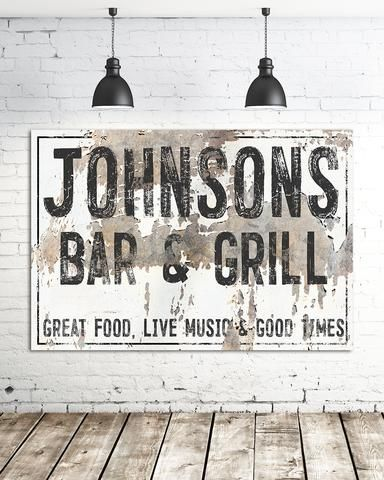 Bar and Grill Name Sign - Industrial Last Name Wall Art