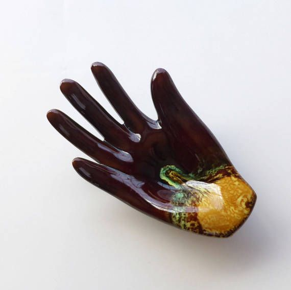 FRENCH VINTAGE 1950's Brown Ceramic Hand Jewelry