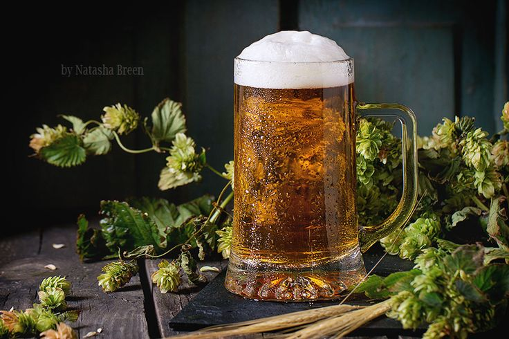 Mug of lager beer - Mug of fresh draught lager beer with foam on black slate, served on old wooden table with green hop and ears of barley. Dark rustic style