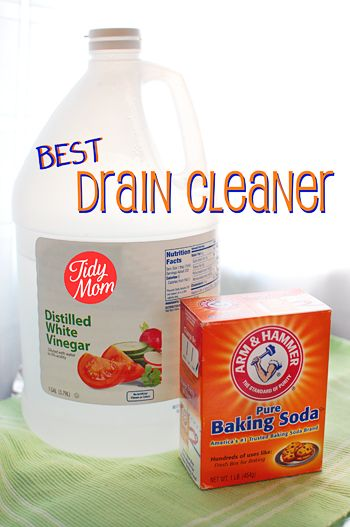 Homemade Drain Cleaner using white vinegar and baking soda. Instructions per blogger