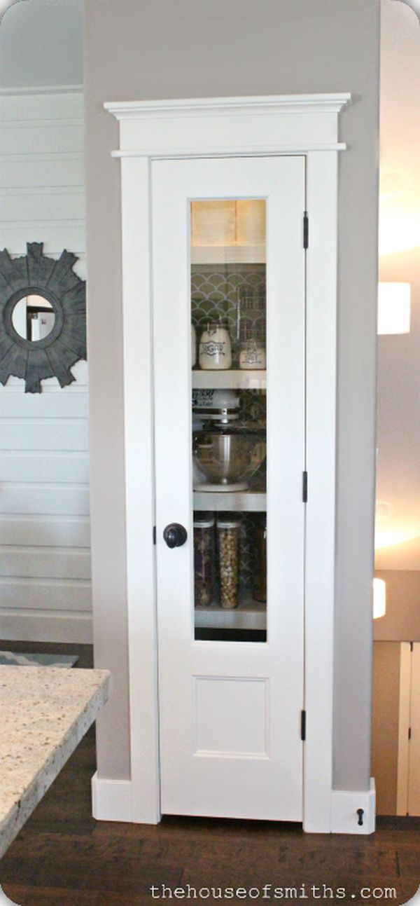 Great idea for a small pantry. You can't see much through the door, however it adds a bit of charm to the room. @JoeTHH www.tinyhousehacks.com
