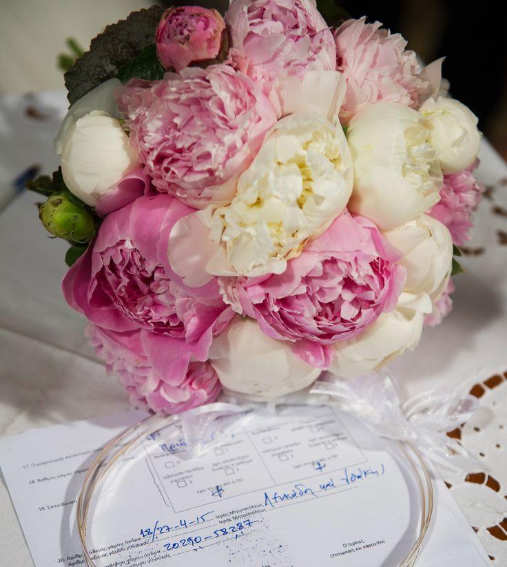 White and pink peony romantic bride bouquet /  λευκό και ροζ παιωνία, ρομαντική Νυφικό μπουκέτο