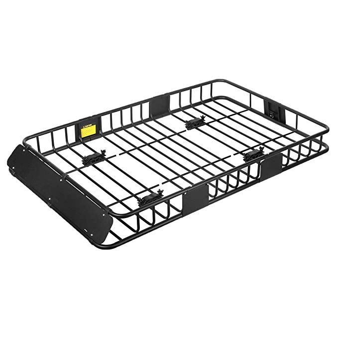 Xcar Roof Rack Carrier Basket Rooftop Cargo Carrier With Extension Black Car Top Luggage Holder 64 X 39 X 6universal For Suv Black Car Roof Rack Cargo Carrier
